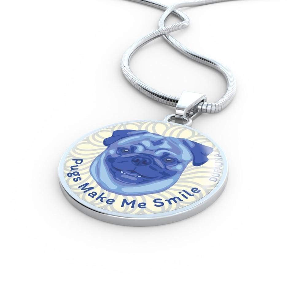 18-22 DuFauna Blue//White Pugs Make Me Smile Necklace D19 Steel or 18k Gold Finish Many Colors