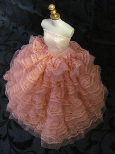 Barbie Doll Clothes Dress: Pink dress with a Lot of Ruffles Fit 11.5 Inch Barbie Dolls by Cloud's Land