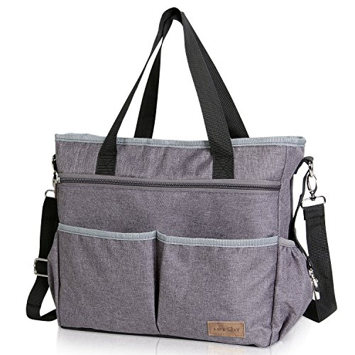 Lifewit Baby Changing Bag Satchel Baby Bag Diaper Bag with Stroller Straps Nappy Changing Messenger Tote Bag Large Capacity for Baby Women (Grey)