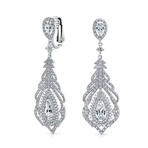 Vintage Style Teardrop Halo Cubic Zirconia Prom Pageant Statement Chandelier Dangle Clip On Earrings Silver Plated - Chandelier Teardrop Plated