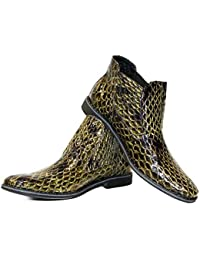 Modello Tropicollo - Handmade Italian Mens Green Ankle Chelsea Boots - Cowhide Embossed Leather - Slip