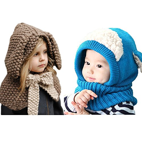 0d750150 2 PCS Kids Hat Winter Warmer, Vandot Earflap Thick Woolen Coif Hooded  Knitted Crochet Cap Best Birthday or Christmas Gift for Kids 6-36 Months ( Puppy) & for ...
