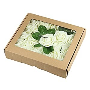 Vlovelife 25pcs Ivory Roses Artificial Flowers 25pcs Real Looking Fake Roses w/Stem for DIY Wedding Bouquets Centerpieces Arrangements Birthday Baby Shower Home Party Decorations 26