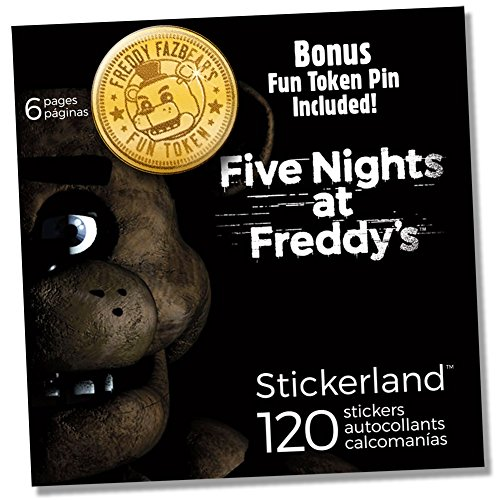 Exotic Butter (Five Nights at Freddy's FNAF Party Favors 120 Stickers and Token Pin Button Set Featuring Chica Plush, Cupcake, Toy Bonnie, Foxy, Golden Nightmare Shadow Freddy & Balloon Boy)