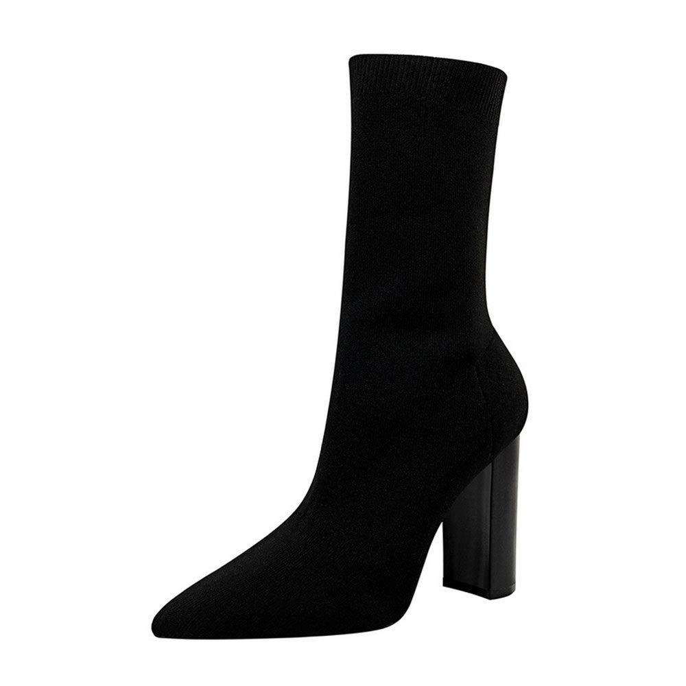 Lieyliso Frauen Spitze dünne Stiefelies mit hohem Absatz