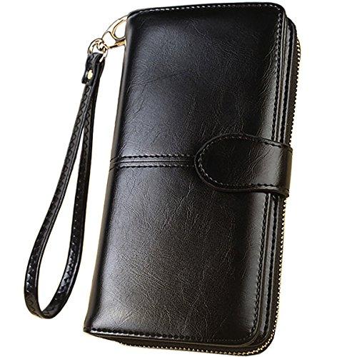 Women Clutch PU Leather Wallet (Black) - 6