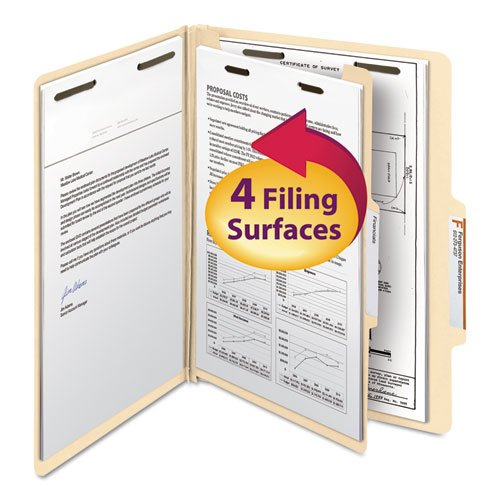 Manila Classification Folders with 2/5 Right Tab, Letter, Four-Section, 10/Box, Sold as 10 Each
