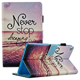 Fire HD 8 Case 2016/2017, Dteck Cute Design Flip Folio Smart Case [Auto Sleep/Wake] Stylus Pen Protective PU Leather Wallet Cover Amazon Kindle Fire HD 8 Tablet(2016/2017)-Never Stop Sea