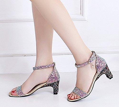 Dressy Sandals Women's Purple Strap Aisun Ankle Glitter qwZn8556
