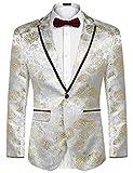 COOFANDY Men's Floral Party Dress Suit Blazer Notched Lapel Jacket One Button Tuxedo,Grey-golden,Small