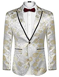 COOFANDY Men's Floral Party Dress Suit Blazer Notched Lapel Jacket One Button Tuxedo
