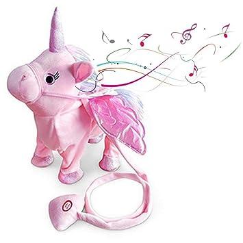 FOONEE Juguete electrónico de Unicornio para Caminar con Juguete para niños y niñas, diseño de Unicornio y Danza, Juguetes de Peluche para niñas y niños: ...