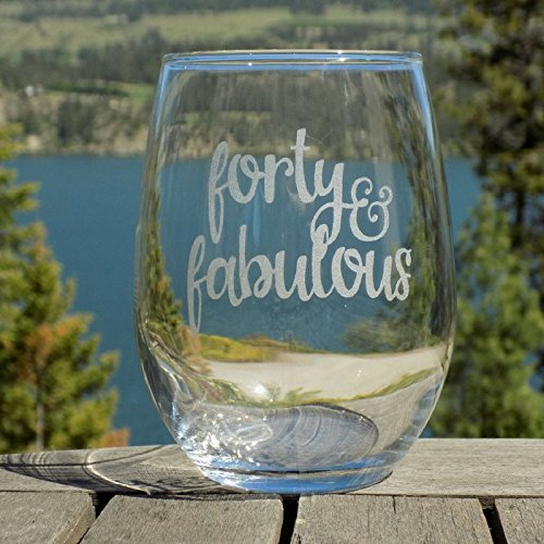 Forty and Fabulous - 40th Birthday Gifts for Her, 40th Birthday Wine Glass, 20 oz Stemless Glass