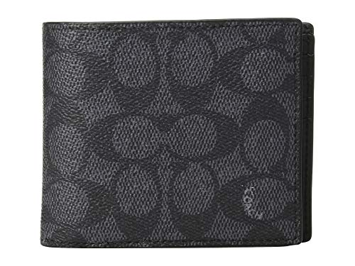 COACH Men's Compact ID Wallet In Signature Canvas Charcoal One Size (Compact Id Wallet In Signature Coated Canvas)