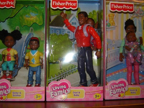 Fisher Price Loving Family 6 Piece African American Figure Set- Mom and Baby, (Fisher Price Loving Family African American Dolls)