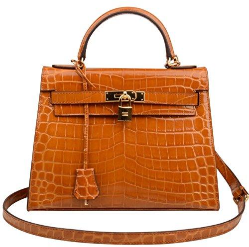 Ainifeel Women's Padlock Crocodile Embossed Patent Leather Shoulder Handbags (28 cm, Brown) -