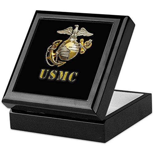 CafePress - USMC Eagle Globe And Seal - Keepsake Box, Finished Hardwood Jewelry Box, Velvet Lined Memento Box (Seal Keepsake)