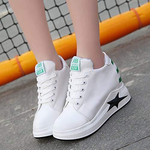 Verde Mujer Blanco de Green Poliuretano con tacón Verano Plano de PU Zapatillas Negro ZHZNVX Deporte Redonda de Zapatos Punta T1Rqff