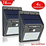 2 Pack Solar Light with Motion Sensor,CrazyFire 16 Bright LEDs Wireless Solar Powered Motion Sensor Light for Outdoor Wall Garden Lamp Patio Deck Yard Home Driveway Stairs With Auto On/Off
