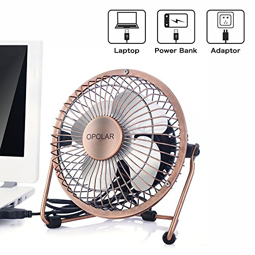 OPOLAR Mini USB Table Desktop Personal Fan (Metal Design, Quiet Operation; 3.9 feet USB Cable, High Compatibility - Bronze) by OPOLAR (Image #2)