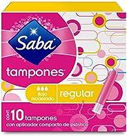 Saba Saba Tampón Con Aplicador Compacto; Absorción Regular/ Flujo Moderado; 10 Piezas, color, 10 count, pack o