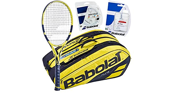 quality design e5501 2f638 Amazon.com   Babolat Rafael Nadal Tennis Racquet, Bag, String and Overgrip  Bundle Pack (Grip Size 4 1 2-inch)   Sports   Outdoors