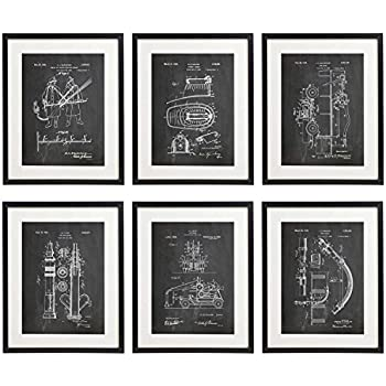Idiopix firefighter 02 patent wall decor chalkboard art print set of 6 prints unframed