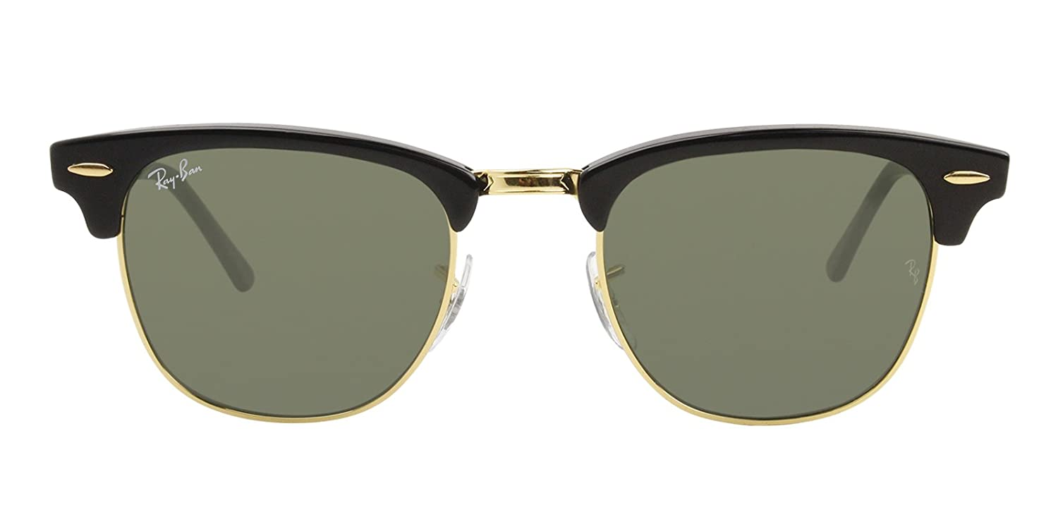 9dc66c4ed3a Amazon.com  Ray-Ban RB3016 Clubmaster Sunglasses Black Gold w Gray Green  Lens W0365 RB 3016  Shoes