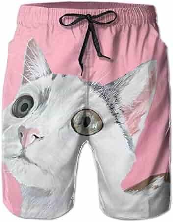 c24a528ab0 CARRYFUTURE Men's Swim Trunks Quick Dry Swim Shorts Custom Summer Cat Light  VentilationTrunks