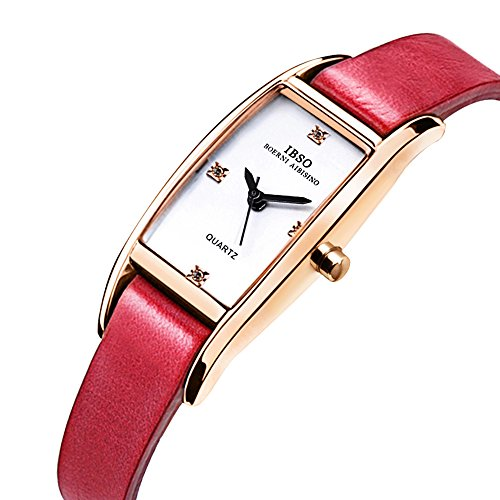 Womens Square Crystal Watch - IBSO Women Rose Gold Watches Ladies Crystal Small Square Face Narrow Leather Band Bracelet Wristwatch (Rose Gold Red)