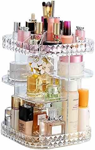Makeup Organizer 360-Degree Rotating Cosmetic Storage Box, DIY Adjustable Large Capacity Cosmetics Display Case Square Makeup Shelf with Diamond Pattern