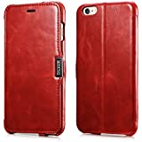 iPhone 6S Plus / 6 Plus Leather Case, FUTLEX Vintage Series Genuine Leather Folio Cover with Magnetic Closure - Ultra Slim - Full Protection - Handmade - Folded Edge Design - Red