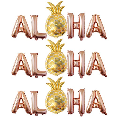 LUOEM 3 Sets Hawaiian Party Foil Balloons ALOHA Metallic Mylar Balloon Decorations Wedding Birthday Baby Shower Party Decorations Hawaiian Luau Tropical Party Favors Supplies 16 Inch (Rose Gold) ()