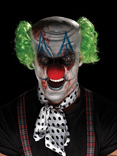 Sinister Clown Makeup Kit Multi-colored Hair Bald Cap Nose Face Paint ()