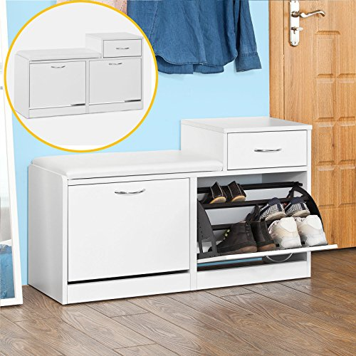 SoBuy Storage Bench with 3 Drawers & Padded Seat Cushion, Hallway Bench Shoe Cabinet Shoe Bench , shoe rack, with storage compartment ,Bench (FSR17-W) - Drawer Shoe Cabinet