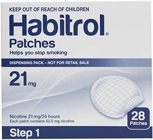 Novartis Habitrol 21mg Nicotine Patches, Step 1. Stop Smoking. 3 Boxes of 28 Each (84 Patches) 21 MG