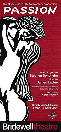"""Stephen Sondheim """"PASSION"""" Clare Burt / Bridewell Showbiz 2004 London Flyer"""