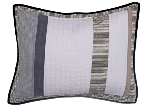 Nautica 201249 Cotton Quilted Sham, Standard, Tan/Grey