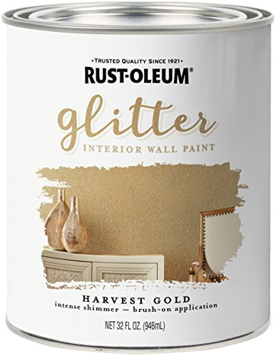 Rust-Oleum 323859 Glitter Interior Wall Paint, Quart, Harvest Gold