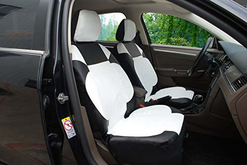 Astonishing Galleon 115904 Bk White Leather Like 2 Front Car Seat Pabps2019 Chair Design Images Pabps2019Com