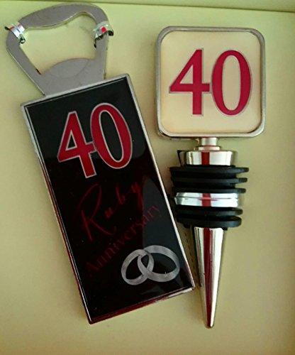 Amore 40th Ruby Anniversary Gift Set Bottle opener & stopper