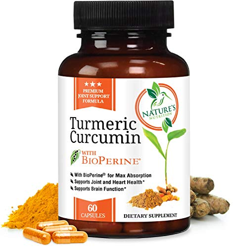 Turmeric Curcumin Max Potency 95% Curcuminoids with Bioperine Black Pepper for Best Absorption, Anti-Inflammatory Joint Relief, Turmeric Supplement Pills by Natures Nutrition - 60 Capsules