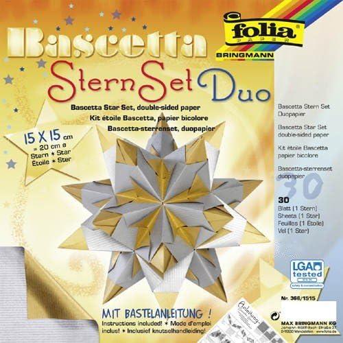 "1 Set 32-teilig Folia Bascetta Stern /""Duo-Papier/"" lila//anthrazit 15x15cm"