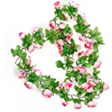 Picama Picama Artificial Rose Garland Silk Flower Vine for valentines Home Wedding Garden Decoration - Pink