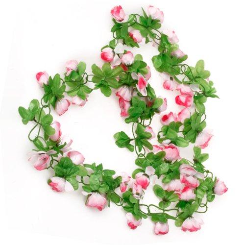 Picama Picama Artificial Rose Garland Silk Flower Vine for valentines Home Wedding Garden Decoration - Pink RICISUNG ST-ZV243-ZX