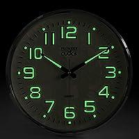 Plumeet Luminous Wall Clocks, 12 inch Non-Ticking Silent Wooden Clock, Large Decorative Kitchen Office Bedroom