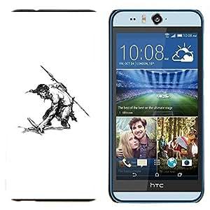 EJOOY---Cubierta de la caja de protección para la piel dura ** HTC Desire Eye M910x ** --Hombre Warrior Espada Lanza Sin camisa del dibujo del arte