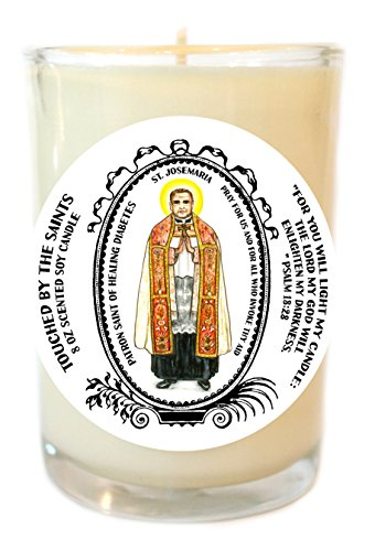 St Josemaria Patron of Healing Diabetes 8 Oz Scented Soy Glass Prayer Candle by Touched By The Saints