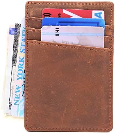 Lethnic RFID Front Pocket Wallet - Business card holder - Minimalist, Ultra Slim, Thinnest Wallet - Best gift for Men, Women and Teen - Safe Wallet For Travel - Genuine Leather (Dark Brown)