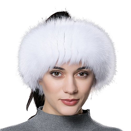 Mink Fur Headband Scarf - URSFUR Women Fur Headband Real Fox Fur Knitted Scarf Ear Protector White